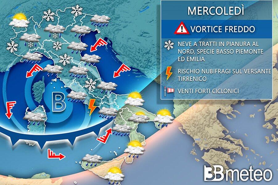 Meteo: in arrivo sull'Italia pioggia, freddo, vento e neve